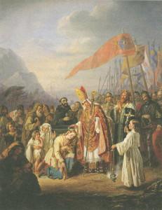 Piispa Henrik kastaa suomalaisia pakanoita kristunuskoon. Taustalla kuningas Erik sotajoukkoineen
